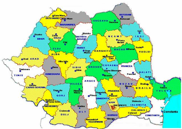 Harta Romaniei Pe Regiuni Judete Si Orase