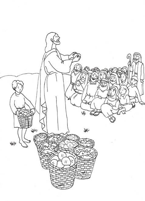jesus feeds the 5000 coloring page - coloring page feeding 5000