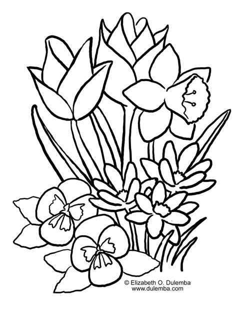 Click To Enlarge Flori De Primavara De Colorat