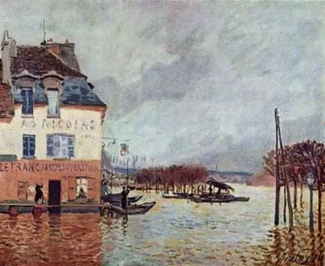 Inundatie la Port Marly pictura Alfred Sisley